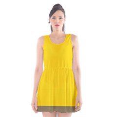 Trolley Yellow Brown Tropical Scoop Neck Skater Dress