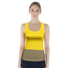 Trolley Yellow Brown Tropical Racer Back Sports Top by Jojostore