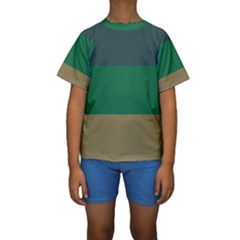 Blue Green Brown Kids  Short Sleeve Swimwear by Jojostore