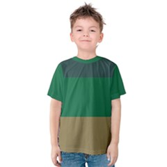Blue Green Brown Kids  Cotton Tee by Jojostore
