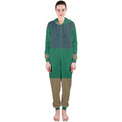 Blue Green Brown Hooded Jumpsuit (ladies)  by Jojostore