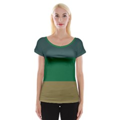 Blue Green Brown Women s Cap Sleeve Top by Jojostore