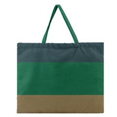 Blue Green Brown Zipper Large Tote Bag by Jojostore