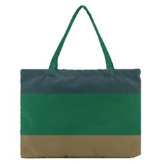 Blue Green Brown Medium Zipper Tote Bag by Jojostore