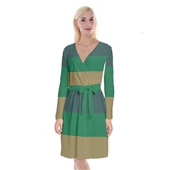 Blue Green Brown Long Sleeve Velvet Front Wrap Dress by Jojostore