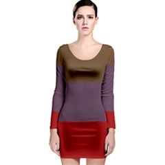 Brown Purple Red Long Sleeve Bodycon Dress