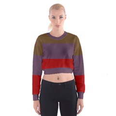 Brown Purple Red Women s Cropped Sweatshirt