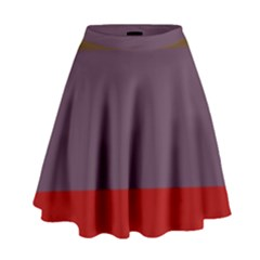 Brown Purple Red High Waist Skirt by Jojostore