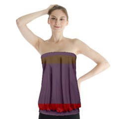 Brown Purple Red Strapless Top by Jojostore