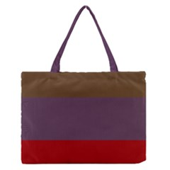 Brown Purple Red Medium Zipper Tote Bag by Jojostore
