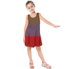 Brown Purple Red Kids  Sleeveless Dress by Jojostore
