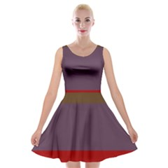 Brown Purple Red Velvet Skater Dress by Jojostore