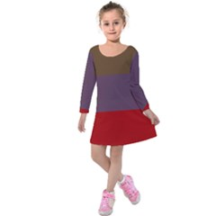 Brown Purple Red Kids  Long Sleeve Velvet Dress by Jojostore