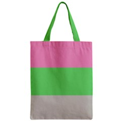 Grey Green Pink Zipper Classic Tote Bag by Jojostore