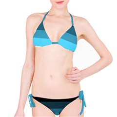 Line Color Black Green Blue White Bikini Set by Jojostore