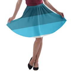Line Color Black Green Blue White A Line Skater Skirt by Jojostore