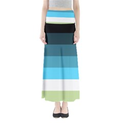 Line Color Black Green Blue White Maxi Skirts by Jojostore