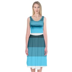 Line Color Black Green Blue White Midi Sleeveless Dress by Jojostore