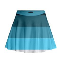 Line Color Black Green Blue White Mini Flare Skirt by Jojostore