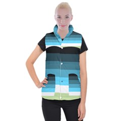 Line Color Black Green Blue White Women s Button Up Puffer Vest by Jojostore