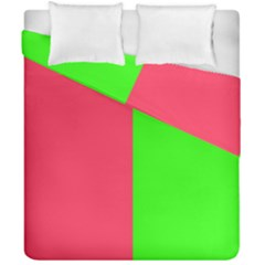 Neon Red Green Duvet Cover Double Side (california King Size)