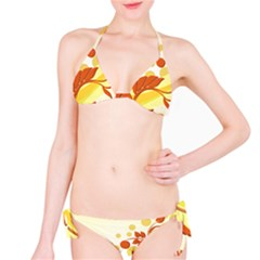 Floral Flower Gold Leaf Orange Circle Bikini Set by Jojostore