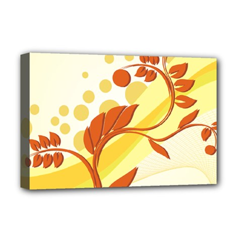 Floral Flower Gold Leaf Orange Circle Deluxe Canvas 18  X 12   by Jojostore