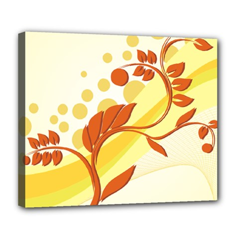 Floral Flower Gold Leaf Orange Circle Deluxe Canvas 24  X 20   by Jojostore