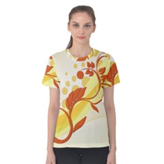 Floral Flower Gold Leaf Orange Circle Women s Cotton Tee