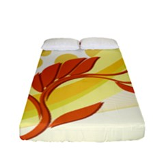Floral Flower Gold Leaf Orange Circle Fitted Sheet (full/ Double Size)
