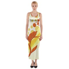Floral Flower Gold Leaf Orange Circle Fitted Maxi Dress by Jojostore
