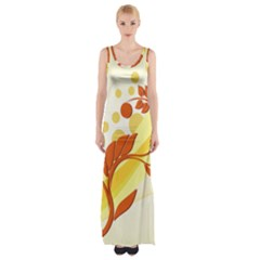 Floral Flower Gold Leaf Orange Circle Maxi Thigh Split Dress by Jojostore