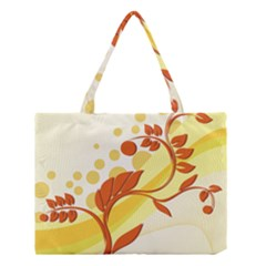 Floral Flower Gold Leaf Orange Circle Medium Tote Bag by Jojostore