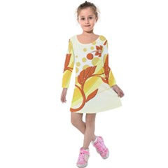 Floral Flower Gold Leaf Orange Circle Kids  Long Sleeve Velvet Dress by Jojostore