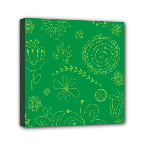 Green Floral Star Butterfly Flower Mini Canvas 6  X 6  by Jojostore