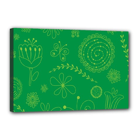 Green Floral Star Butterfly Flower Canvas 18  X 12