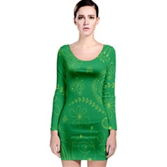 Green Floral Star Butterfly Flower Long Sleeve Bodycon Dress