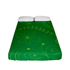 Green Floral Star Butterfly Flower Fitted Sheet (full/ Double Size) by Jojostore