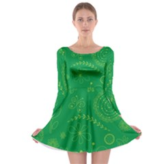Green Floral Star Butterfly Flower Long Sleeve Skater Dress