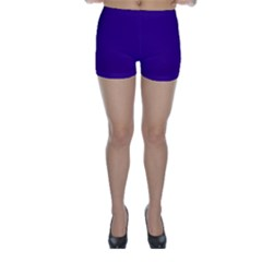 Plain Violet Purple Skinny Shorts