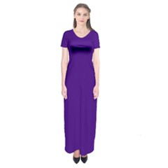 Plain Violet Purple Short Sleeve Maxi Dress by Jojostore