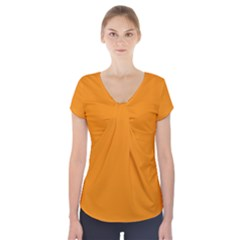 Plain Orange Short Sleeve Front Detail Top by Jojostore