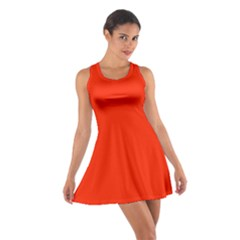 Plain Orange Red Cotton Racerback Dress