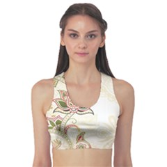 Floral Flower Star Leaf Gold Sports Bra by Jojostore