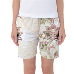 Floral Flower Star Leaf Gold Women s Basketball Shorts