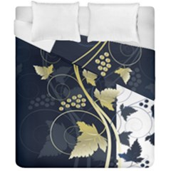 Tree Leaf Flower Circle White Blue Duvet Cover Double Side (california King Size) by Jojostore