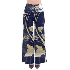 Tree Leaf Flower Circle White Blue Pants by Jojostore