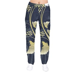 Tree Leaf Flower Circle White Blue Drawstring Pants