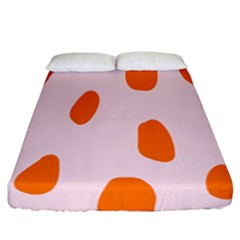 Polka Dot Orange Pink Fitted Sheet (california King Size) by Jojostore