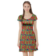 Typographic Graffiti Pattern Short Sleeve Skater Dress by dflcprintsclothing